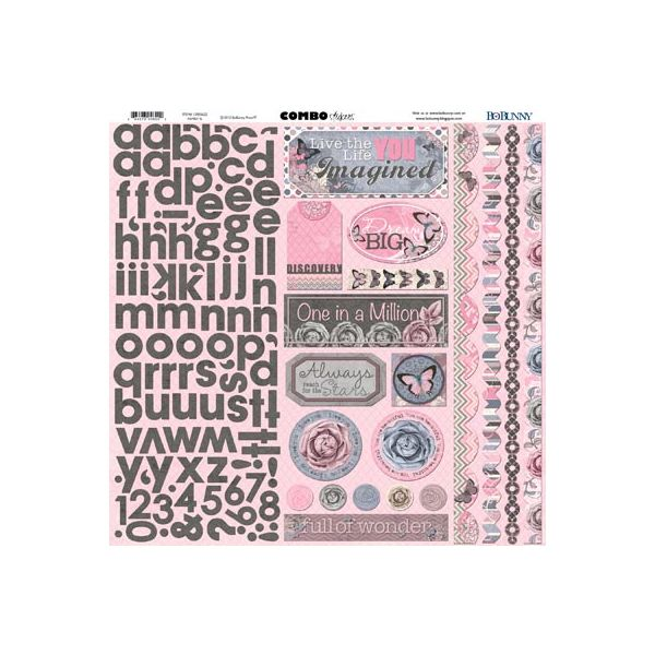 Bo Bunny Cardstock Combo Stickers  - Isabella