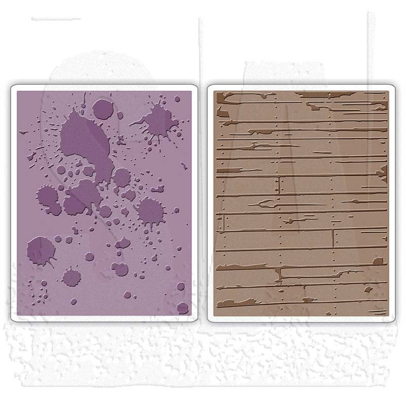 Sizzix Embossing Folders - [Tim Holtz] - Ink Splats & Wood Plank Set