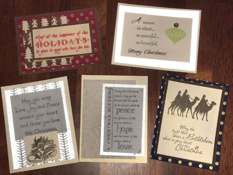 HOLIDAY CARD CLASS (make 5) Wednesday, October 17th  1 - 4:00pm