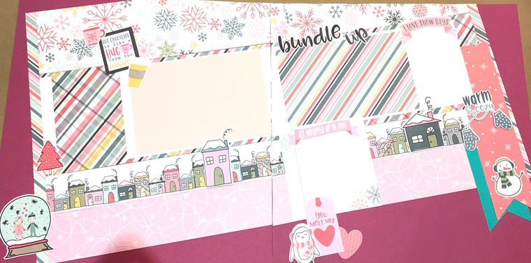 8 PAGE FREEZIN' SEASON SCRAPBOOK LAYOUT KIT