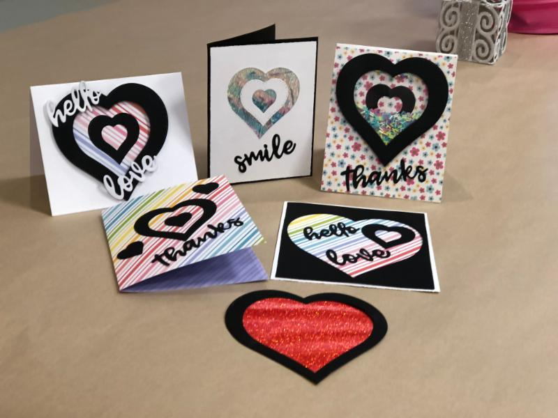 Hearts for You CARD CLASS - make 5 $15 SUNDAY JANUARY 27th 1-4pm