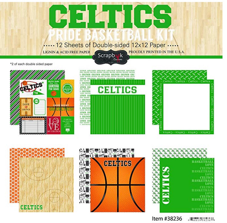Scrapbook customs 12x12 Boston Celtics basketball pride collection kit