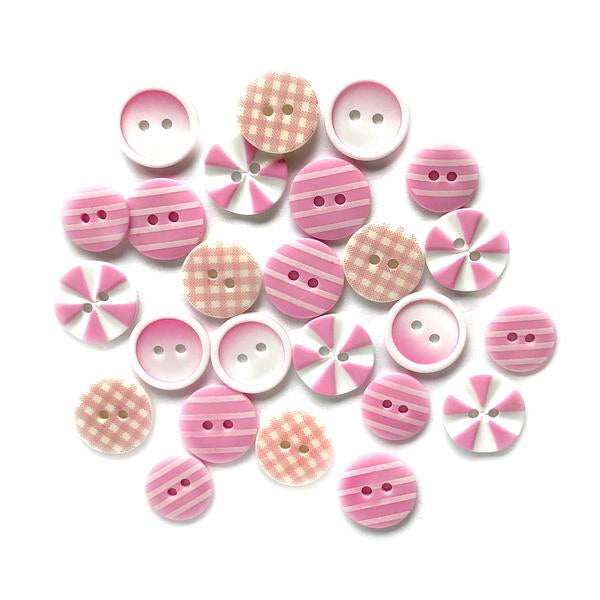 Buttons Galore printed buttons- Tickle Me Pink