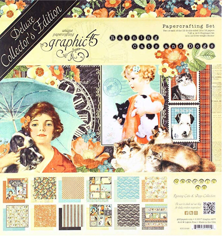 Graphic45 12x12 raining cats and dogs collection kit