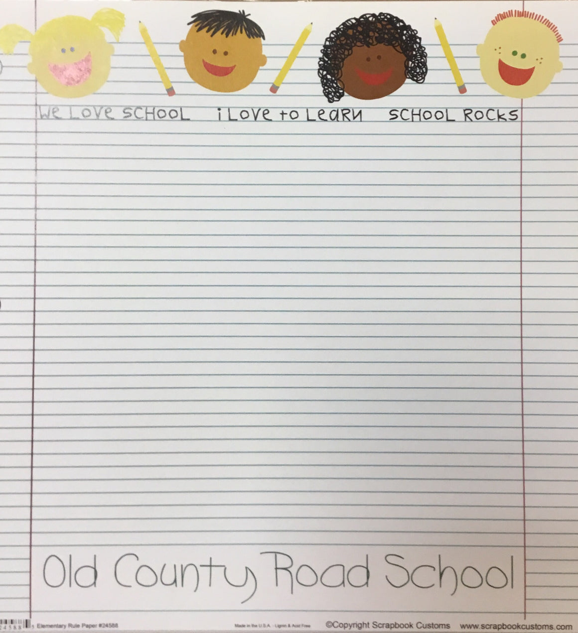 Old County Road School elementary rule paper