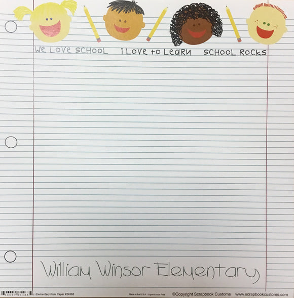 William Winsor Elementary School elementary rule paper