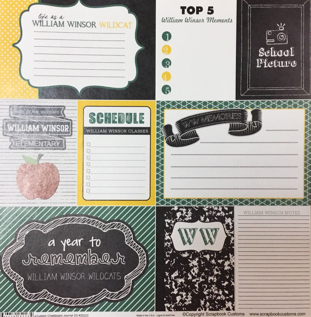 William Winsor Elementary School chalkboard journal DS paper