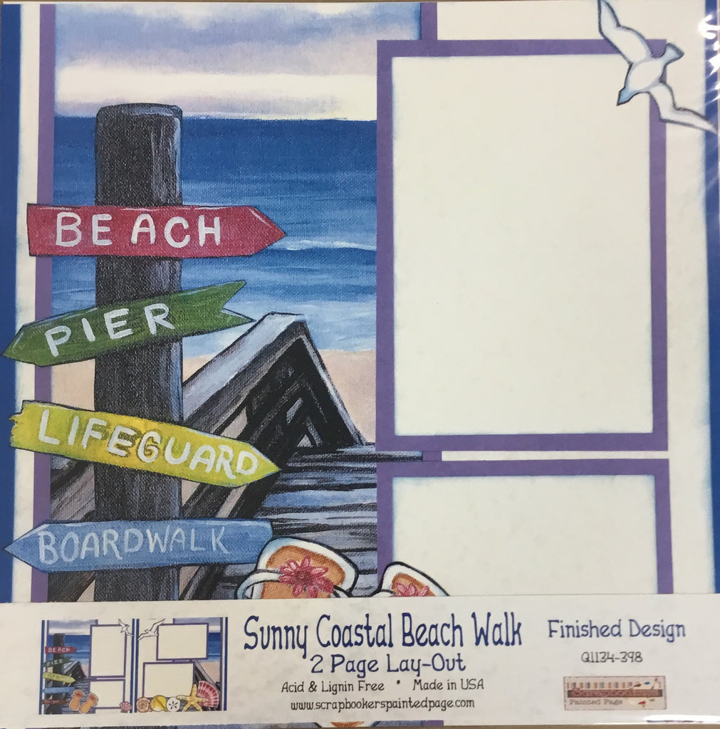12x12 2 page layout Sunny Coastal beach walk