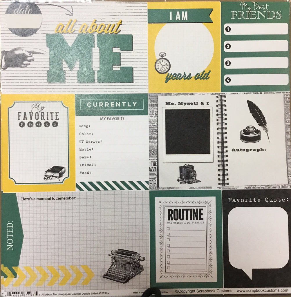 Old County Road School all about me newspaper journal DS paper