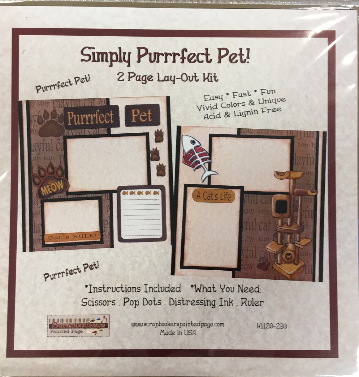 12x12 2 page layout kit Simply Purrrfect Pet