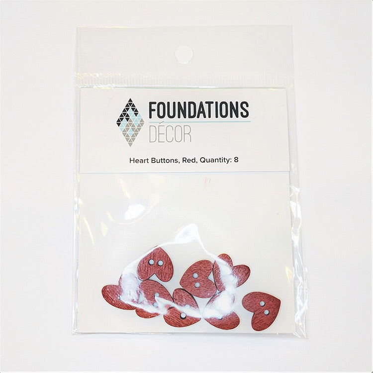 Foundations Decor Red Heart Buttons