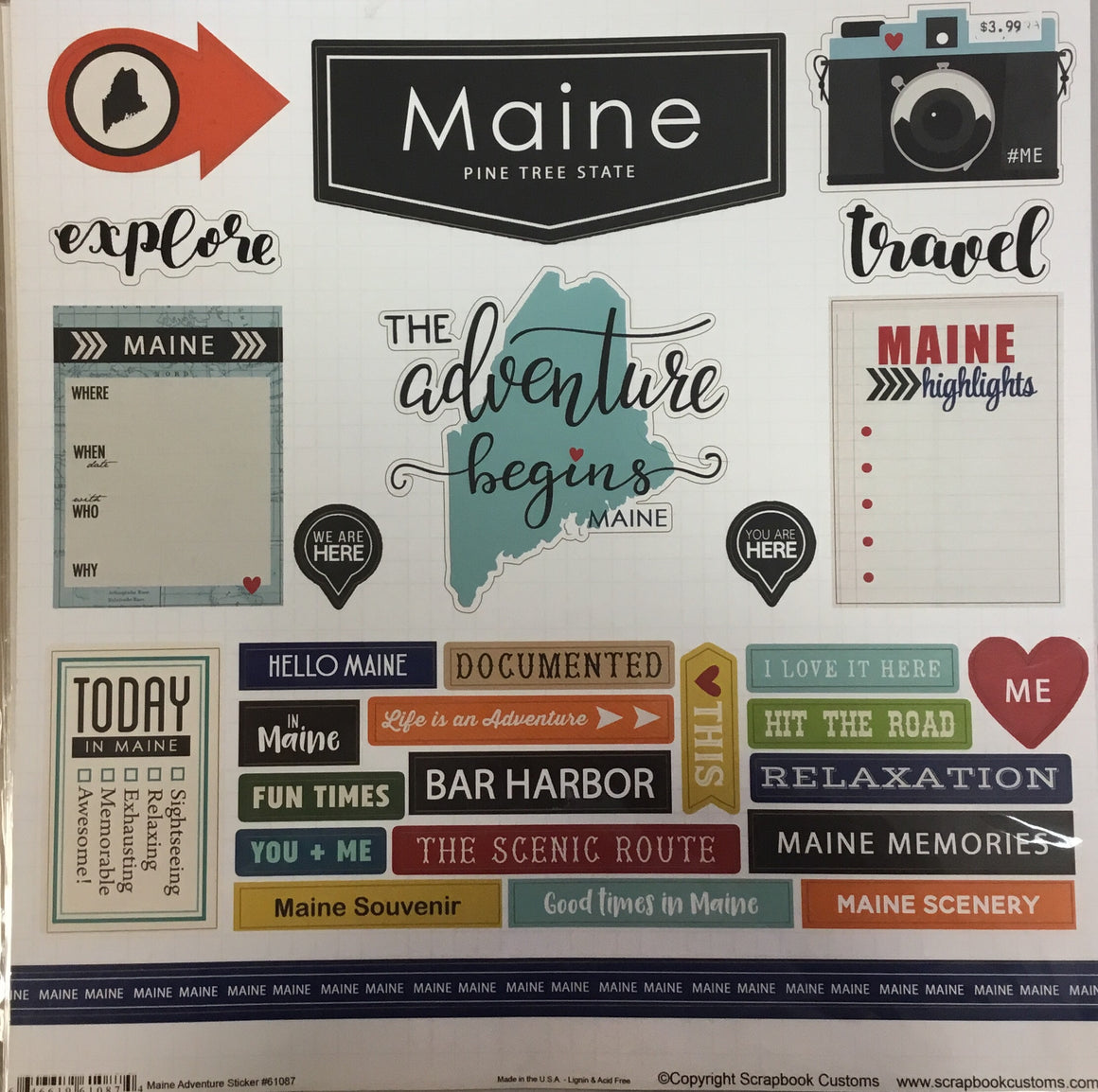 Maine adventure craft stickers