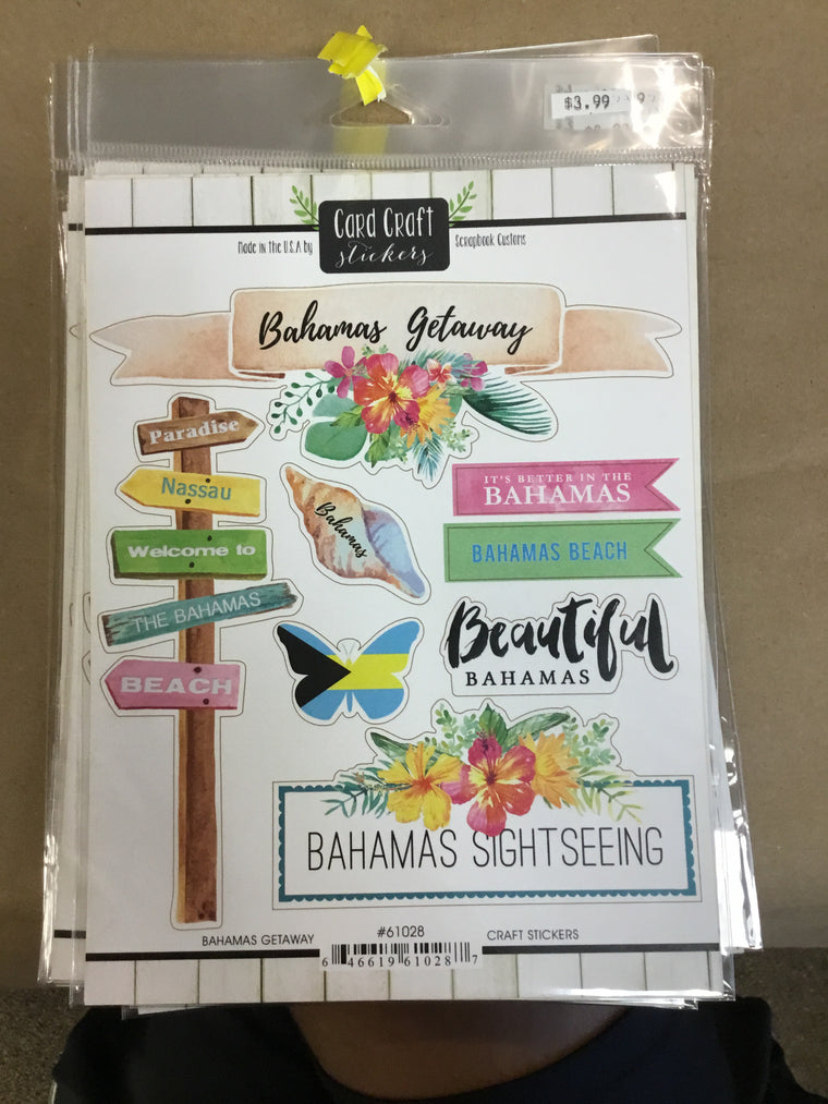 Bahamas Getaway craft stickers