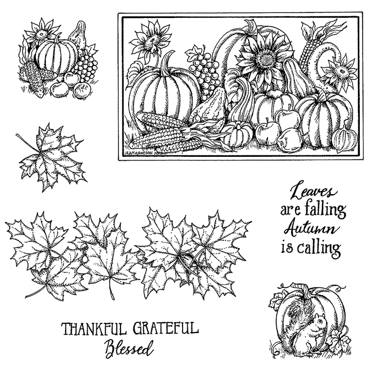 Northwoods Rubber Stamps Maple Border and Pumpkins