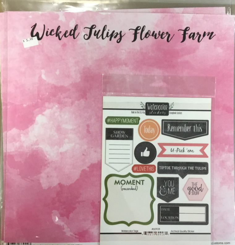 12x12 Wicked Tulips Flower Farm kit w/ 1 custom sheet, 1 companion sheet, 1 custom sticker sheet