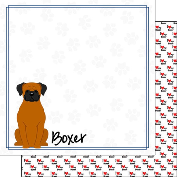 12x12 Boxer border paper single sheet