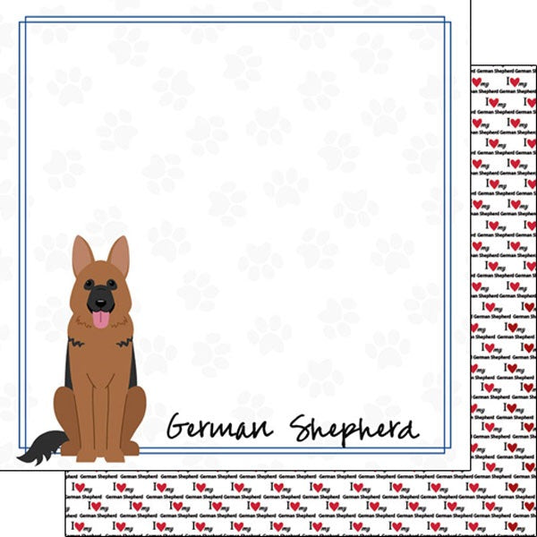 12x12 German Shepherd paper single sheet
