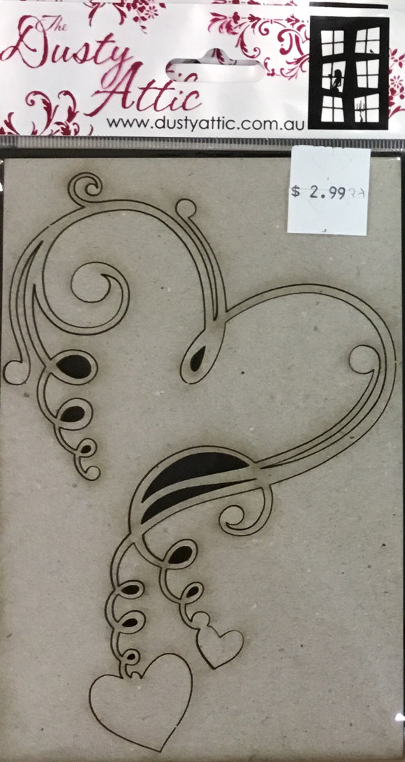 Dusty Attic Chipboard- heart swirly