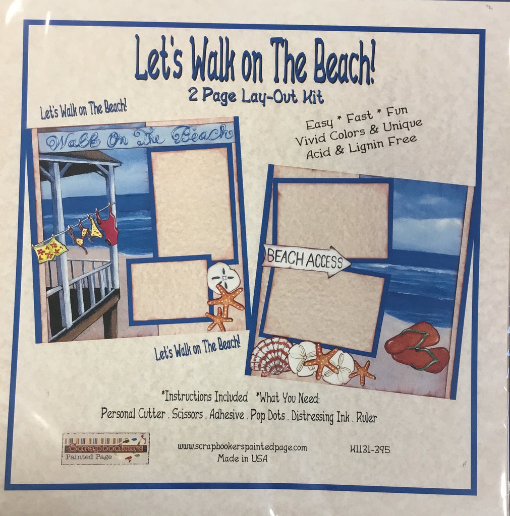12x12 2 page layout kit Let's Walk on the Beach