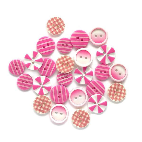 Buttons Galore printed buttons- Pink Patchwork
