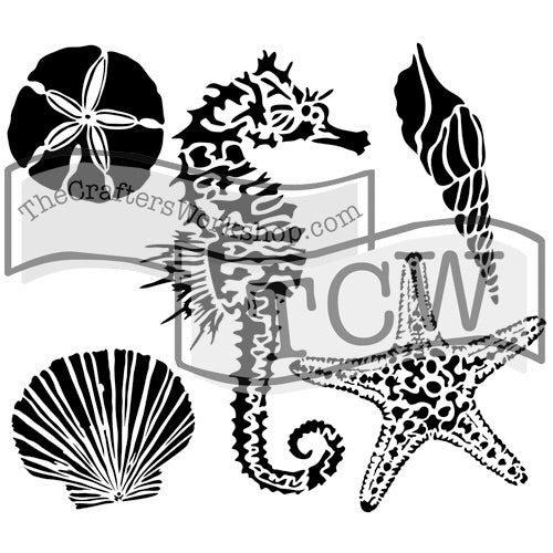 "6x6"" stencil - Mini Sea Creatures"