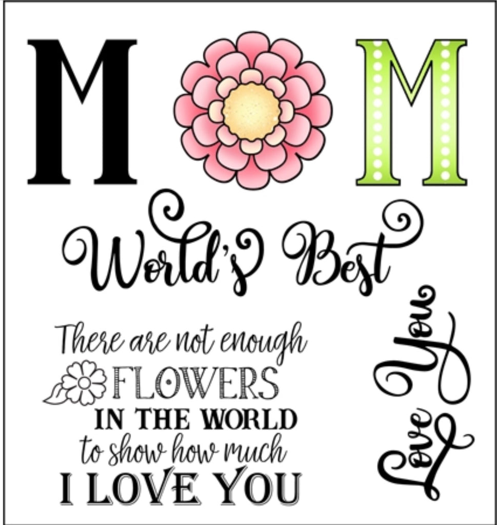 Darcie's Heart & Home- rubber cling stamp Worlds Best Mom