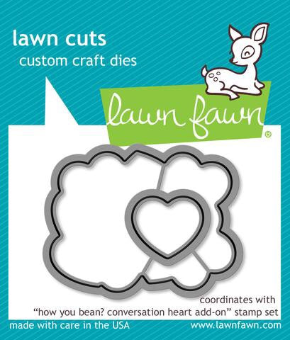 Lawn Fawn custom craft die- how you bean? Conversation heart