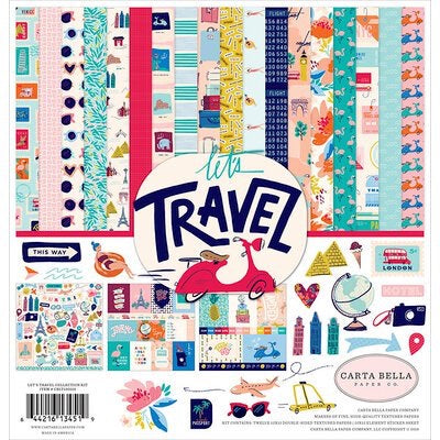 Carta Bella paper co. 12x12 Lets Travel  collection kit