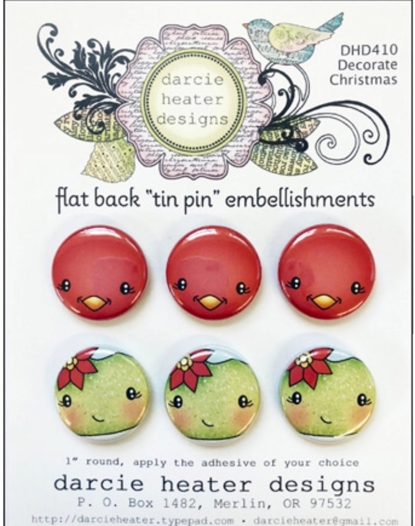 Darcie's Heart & Home-  Decorate Christmas clear stamp & flat back Tin pin bundle