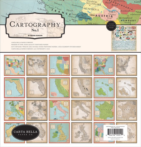 Carta Bella Paper- Cartography 12x12 collection kit