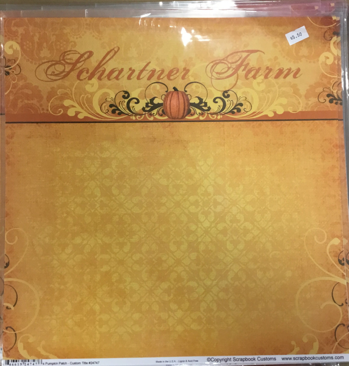 12x12 Schartner Farm kit w/ 1 custom paper, 1 companion paper, 1 custom sticker sheet