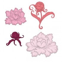 Heartfelt Creations Cling stamp & Die bundle- Peony Bud and Blossom