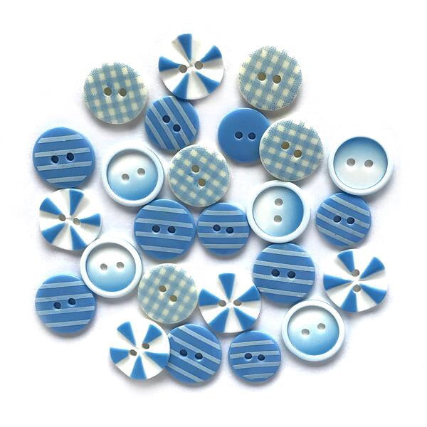 Buttons Galore printed buttons- Blues Medley