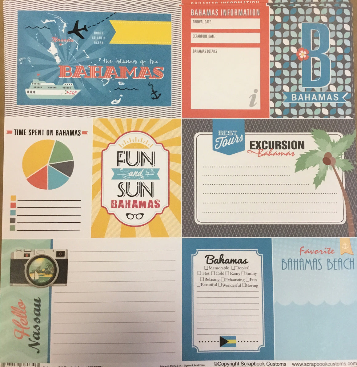 Bahamas Journal 12x12 single sheet