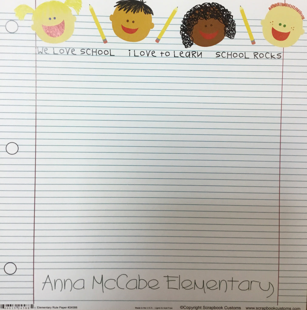 Anna McCabe School elementary rule paper