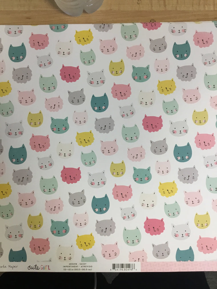 12x12 cute girl cats single sheet
