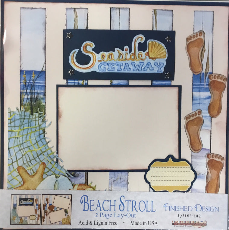 12x12 2 page layout Beach Stroll