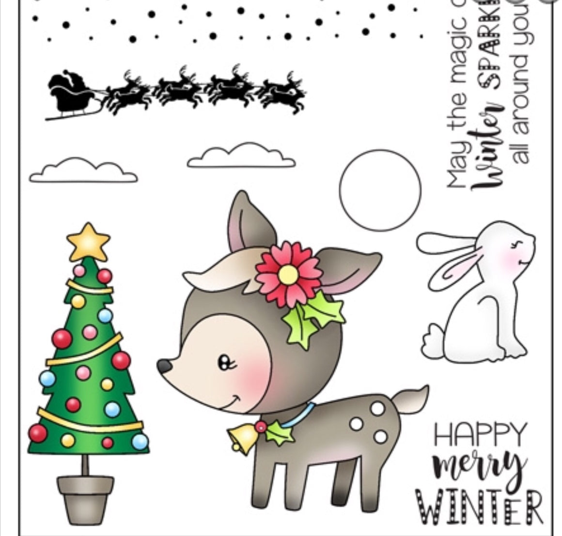 Darcie's Heart & Home- Winter Sparkle clear stamp & flat back Tin pin bundle