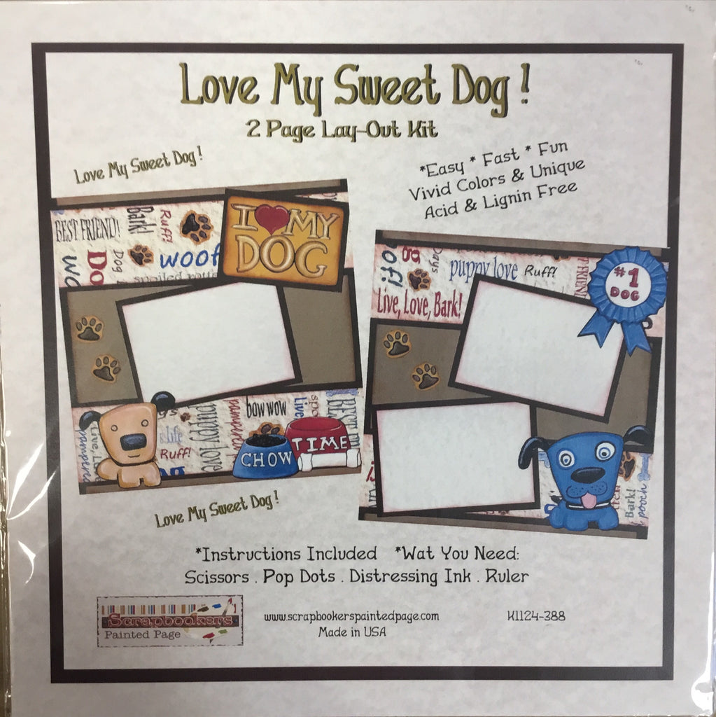 12x12 2 page layout kit Love my Sweet Dog