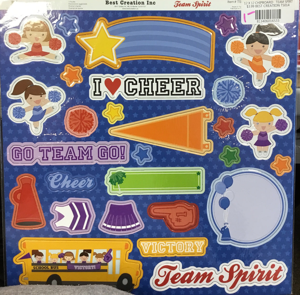 Best Creation Inc. Chipboard- Team Spirit