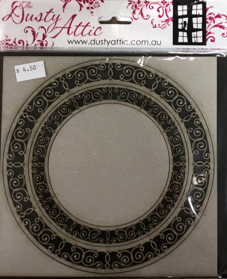 Dusty Attic Chipboard- ornate circle frame small