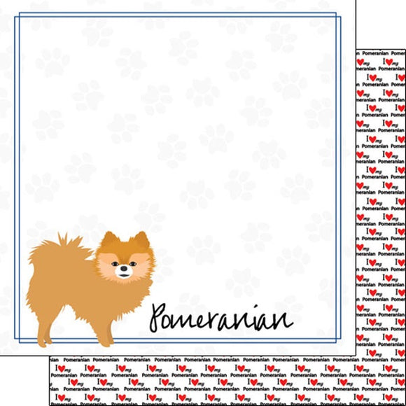 12x12 Pomeranian border paper single sheet