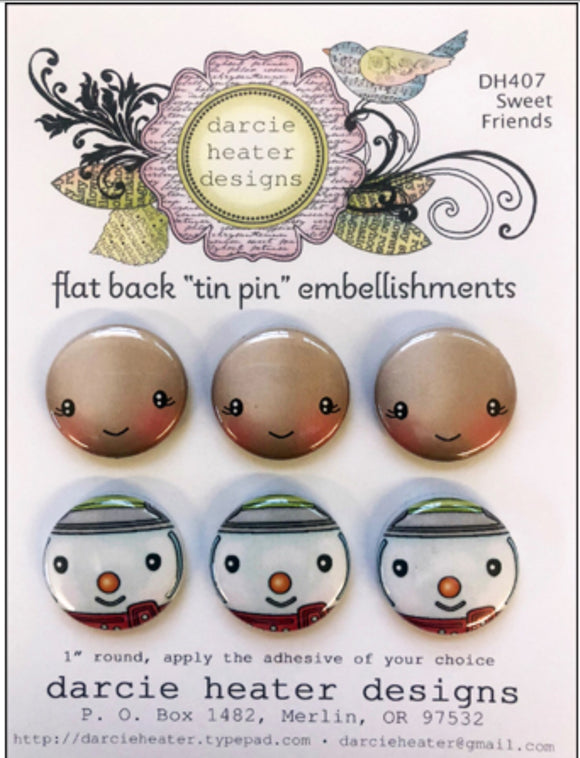 Darcie's Heart & Home-  Sweet Friends clear stamp & flat back Tin pin bundle