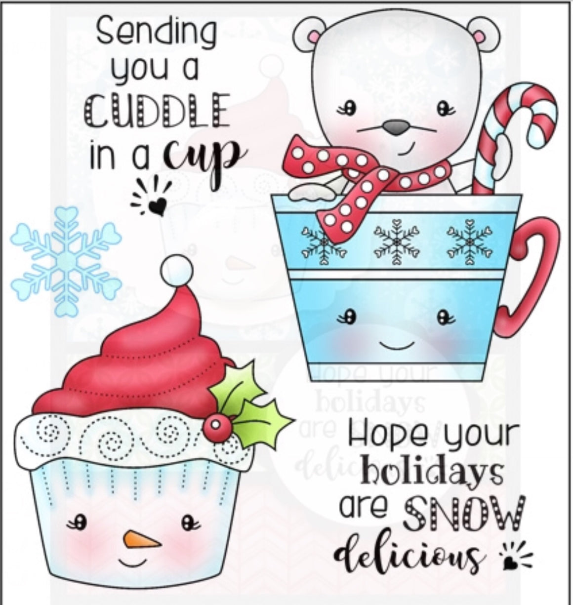 Darcie's Heart & Home- rubber cling stamp Cuddles in a Cup