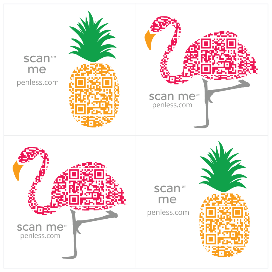 Penless video stickers- Flamingo/Pineapple