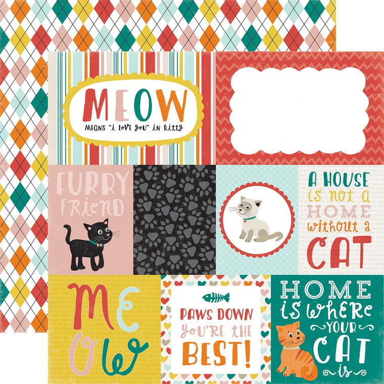 12x12 cat journaling cards single sheet