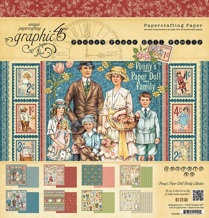 Graphic45 Penny's Paper Doll Family  12x12 Collection kit