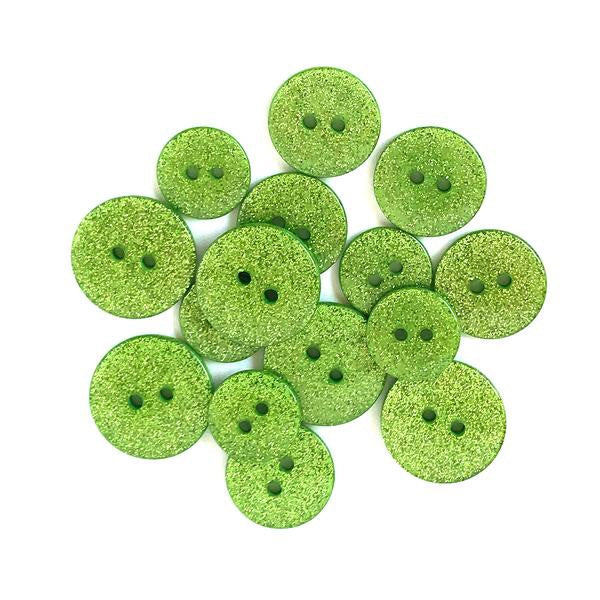 Buttons Galore glitter buttons- Granny Smith