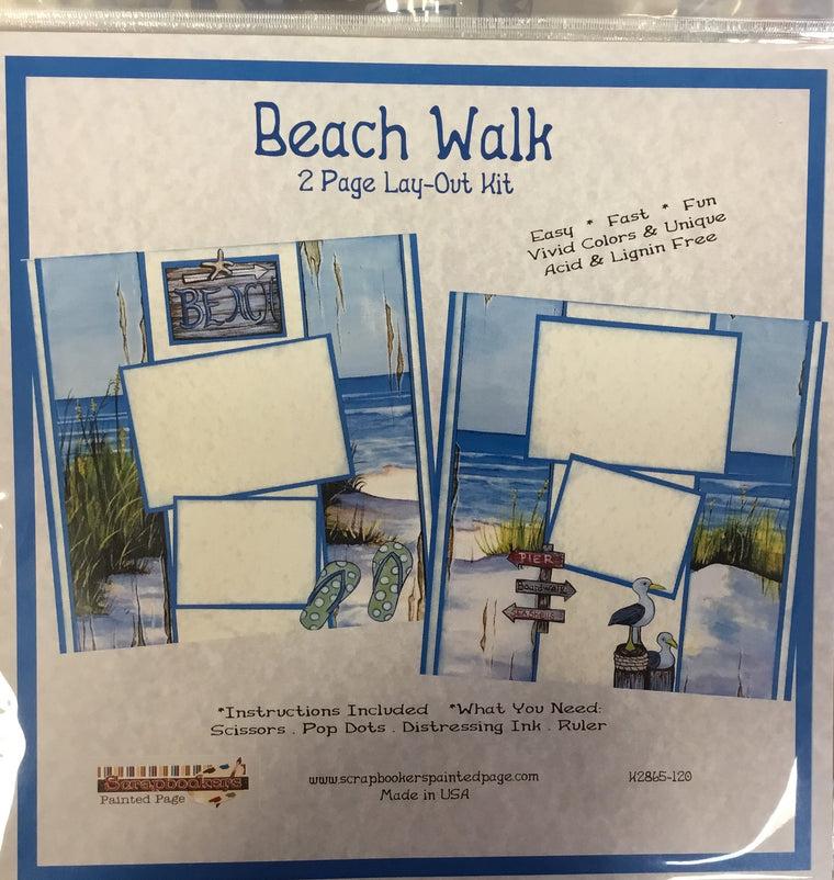 12x12 2 page layout kit Beach Walk