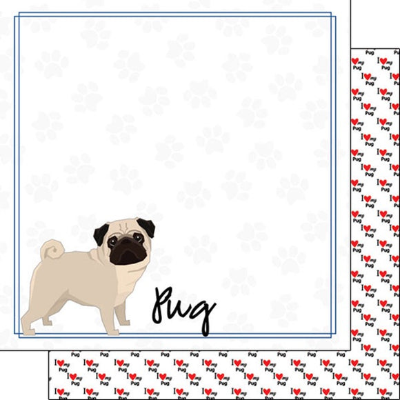 12x12 Pug border paper single sheet